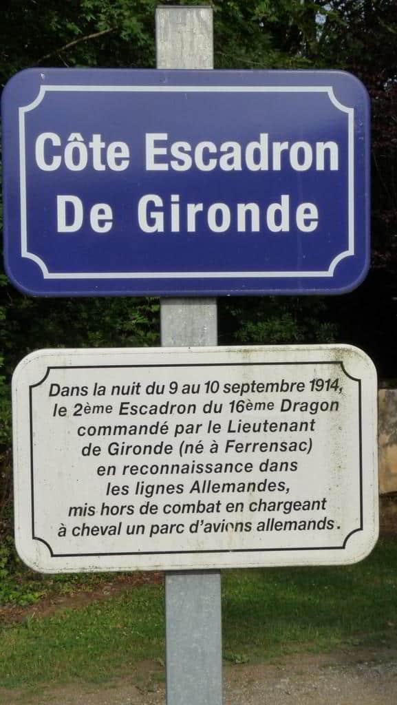 Plaque : Côte Escadron de Gironde